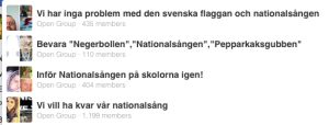 Facebook-grupper med nationalsångstema.