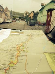 Karta över Route des vins i bilfönstret.