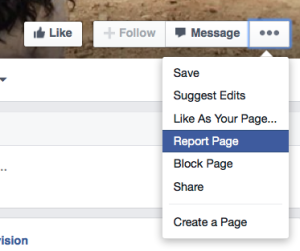 """1. Klicka på de tre punkterna i hörnet, och välj """"report page"""" i menyn."""