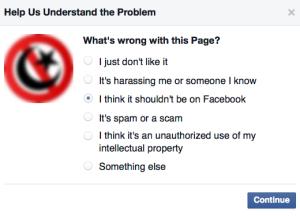 2. Här bör du välja att säga att det du anmäler inte ska vara på Facebook.